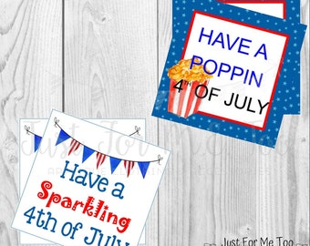 Instant Download Printable 4th of July Tag, Sparkler Tag, Poppin' 4th of July, Popcorn Tag, Friend, Gift, Party Favor, Sparklers