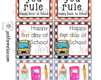 Back to School Printable Tags, Instant Download, Teacher Tags, Square Gift Tags, 1st Day of School, Lunchbox Notes, Teacher Gift