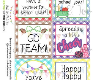 August Bundle Printable Tag Bundle, Digital Tags, Gift Tag, Back to School, Football, Download, Cheer, Lunchbox Note, Happy Note