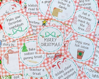 Christmas Countdown Printable, 25 Days of Christmas, Instant Download, Christmas Cards