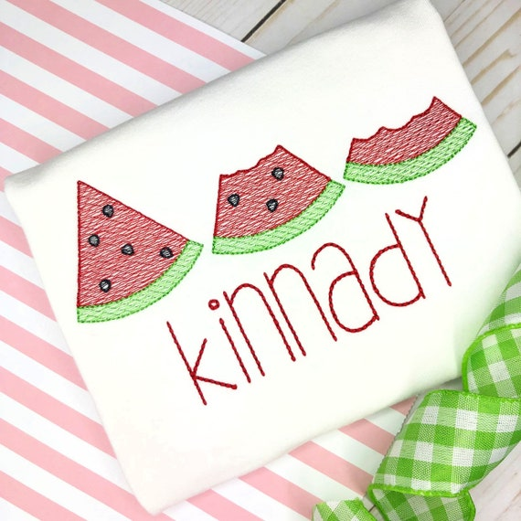 Personalized Summer Watermelon embroidered Shirt or Bodysuit- Fruit applique shirt, Summer, embroidery, for girls, watermelon trio, sketch