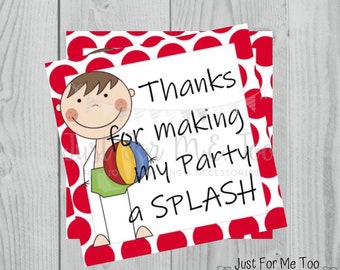 Summer Printable Tags, Thanks for making my Party a Splash, Instant Download, Summer Tags, Pool Party Tags, Pool Birthday