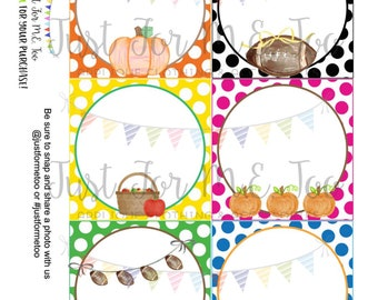 Instant Download Blank Printable Tags, Apple, Football, Pumpkin, Tractor, Lunch Box Note, Printable, Instant Download, Fall Tags Blank Notes