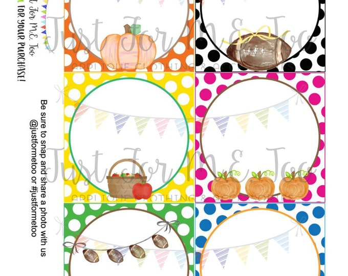 Featured listing image: Instant Download Blank Printable Tags, Apple, Football, Pumpkin, Tractor, Lunch Box Note, Printable, Instant Download, Fall Tags Blank Notes
