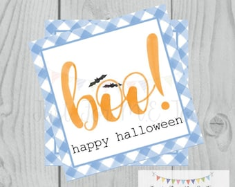 Halloween Printable Tags, Instant Download, Boy Boo Tags, Square Gift Tags, Blue Gingham, Lunchbox, BOO Tag, Printable, Boy Halloween
