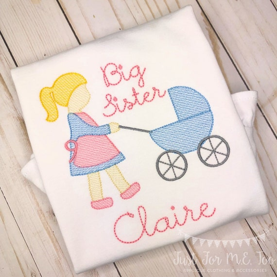 Personalized  Sibling shirt- Big Sister Shirt- Makes a great Gift- Vintage Stitch Sibling shirt- Baby Carriage- Free Shipping