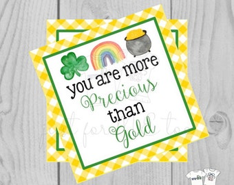 St. Patrick's Day Printable Tags, Instant Download, More Precious than Gold Tags, Classroom, Shamrock, Clover, Pot of Gold