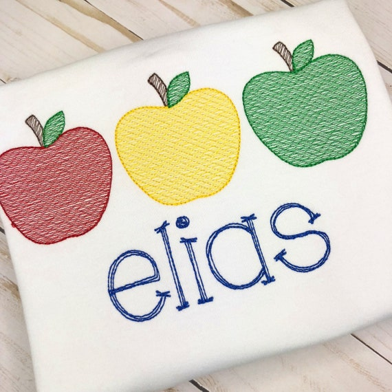 Personalized Apple Trio Sketch Stitch Embroidery Shirt, 3 in a Row Apple, 1st Day of School, School Shirt, Apple Orchid
