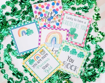 February Bundle Printable Tag Bundle, St Patrick's Day Digital Tags, Clover Tag, Rainbow Tag, Pintable, Download, Gift Tags,