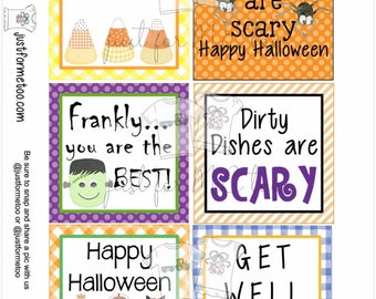 Halloween Printable Tags, Instant Download, Halloween Blank Tags, Square Gift Tags, Birthday, Lunchbox, Pumpkin, Printable, Favorite Tags