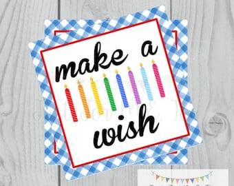 Make a Wish Birthday Digital Tags, Printable Party Tags, Birthday Printable, Happiness Tags, Birthday Tags, Gift Tags, Party Tags, Gifting