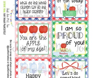Lunchbox Notes Printable Tags, Back to School, First Day of School Tags, School Tags, Lunchbox Notes, Digital Download