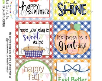 September Bundle Printable Tag Bundle, Digital Tags, Gift Tag, Happy Fall Tag, Apple Tags , Download, Pumpkin Tag, Lunchbox Note, Happy Note