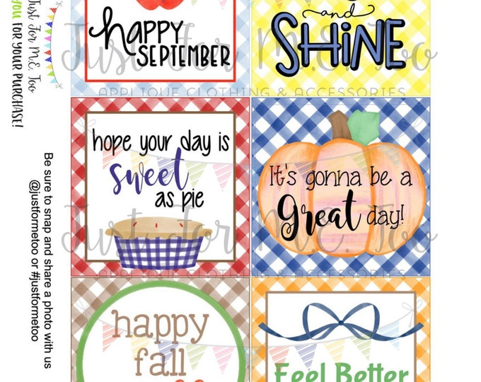 Featured listing image: September Bundle Printable Tag Bundle, Digital Tags, Gift Tag, Happy Fall Tag, Apple Tags , Download, Pumpkin Tag, Lunchbox Note, Happy Note