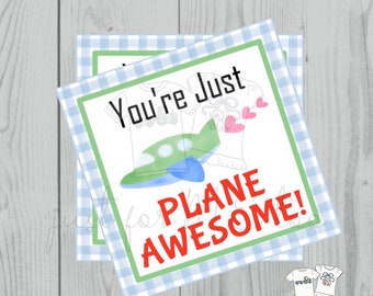 Valentine Printable Tags, Instant Download, Valentine's Day Tags, Square Gift Tags, Classroom Tag, Airplane Tag, Treats, Plane