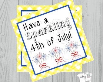 Instant Download Printable 4th of July Tag, Firework Tag, July 4th Printable, July Tag, Friend, Gift, Party Favor, Sparklers