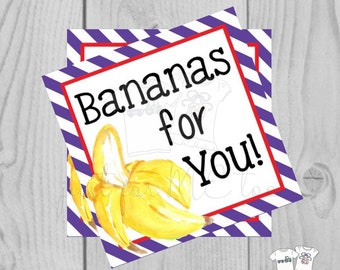 Valentine Printable Tags, Instant Download, Valentine's Day Tags, Square Gift Tags, Classroom Tag, Banana Tag, Treats, Bananas for You