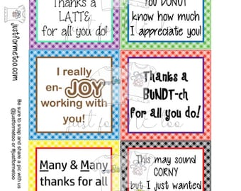 Appreciation Printable Tags, Instant Download, Employee Tags, Square Gift Tags, Thank you, Co-Worker, Employee Appreciation