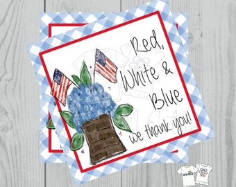 Instant Download Printable 4th of July Tag, American Flag Tag, July 4th Printable, July Tag, Friend, Gift, Thank You