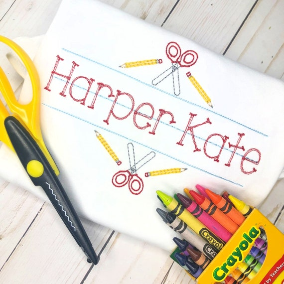 Personalized Back to School Sketch Stitch Embroidery Shirt, Pencil, Handwriting, Name Plate with Scissors and Pencils, Vintage stitch