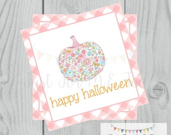 Halloween Printable Tag, Instant Download, Happy Halloween Girl Tags, Square Tags, Pink floral Pumpkin, Printable, Halloween Treats, Gingham