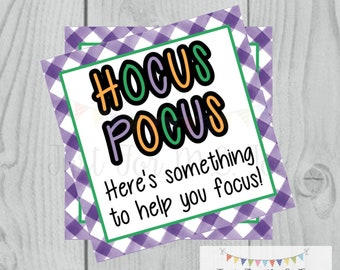 Halloween Printable Tags, Instant Download, Teacher Tags, Square Gift Tags, Hocus Pocus, Student Halloween Gifts, Small Gifts, Treats