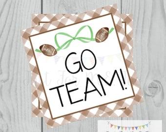 Football Printable Tags, Go Team, Instant Download, School Tags, Cheerleading Tags, Cheerleader, Football, Team Tag