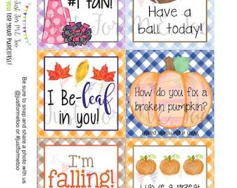 Lunchbox Notes Printable Tags, Pumpkin, Fall School Tags, School Tags, Lunchbox Notes, Digital Download