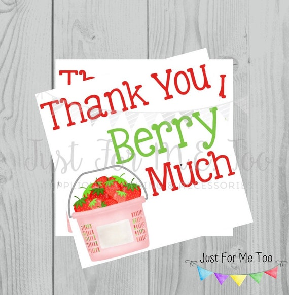 Thank You Printable Tag, Strawberry Tag, Instant Download, Summer Tags, Thank You Berry Much Tags, Summer Party