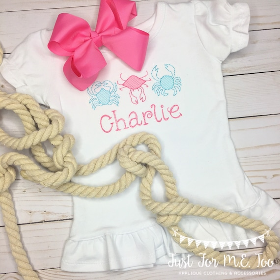 Personalized Girls Crab Trio Shirt or bodysuit
