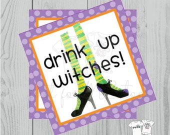 Halloween Printable Tags, Instant Download, Drink up Witches, Square Gift Tags, Witch Feet, Printables, Halloween Pals