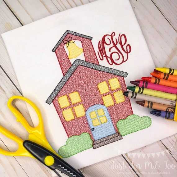 Personalized Back to School Schoolhouse Sketch Stitch Embroidery Shirt, Bow, monogram school shirt, B2S, 1st day of school, FREE Shipping