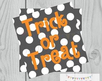 Halloween Printable Tags, Instant Download, Treats not Tricks Tags, Square Gift Tags, Polka Dot, Printable, Halloween Treats, pumpkin