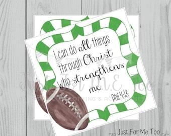 Football Printable Tags,Philippians 4:13, Instant Download, School Tags, Cheerleading Tags, Cheerleader, Football