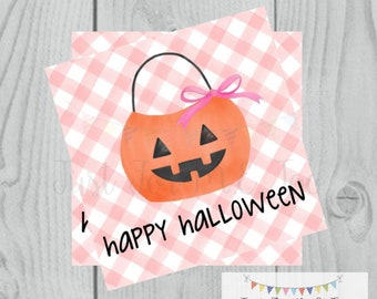 Halloween Printable Tags, Instant Download, Happy Halloween Girl Tags, Square Gift Tags, Pink Gingham, Printable, Halloween Treats, pumpkin