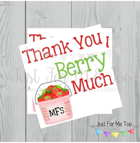 Personalized Thank You Printable Tag, Strawberry Tag, Summer Tags, Thank You Berry Much Tags, Summer Party