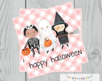 Happy Halloween Printable Tags, Instant Download, Trick or Treat Tags, Square Gift Tags, Halloween Friends, Printable, Happy Halloween, Pink