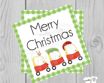 Merry Christmas Coupe Printable Tags, Instant Download, Colorful Christmas Coupe Trio, Square Tags, Merry Christmas, Lunchbox, Printable