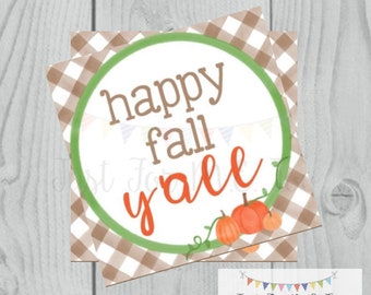 Fall Printable Tags, Instant Download, Fall Tags, Pumpkin Gift Tags, Gingham, Lunchbox, Pumpkin, Printable, Scarecrow, Happy Fall Y'all
