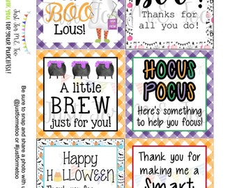 Teacher Printable Tags, Instant Download, Teacher Tags, Square Gift Tags, Teacher Appreciation, Teacher Halloween Gifts, Small Gifts, Treats