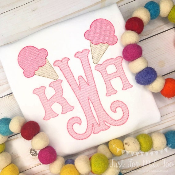 Personalized Ice Cream monogram Embroidered shirt or bodysuit - ice cream applique, Summer, for girls, monogram, embroidered, monogrammed