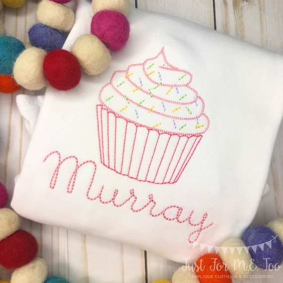 Personalized Birthday Shirt or Bodysuit- Vintage stitch cupcake- Birthday Shirt- Vintage birthday- embroidery, monogram, Vintage Cupcake