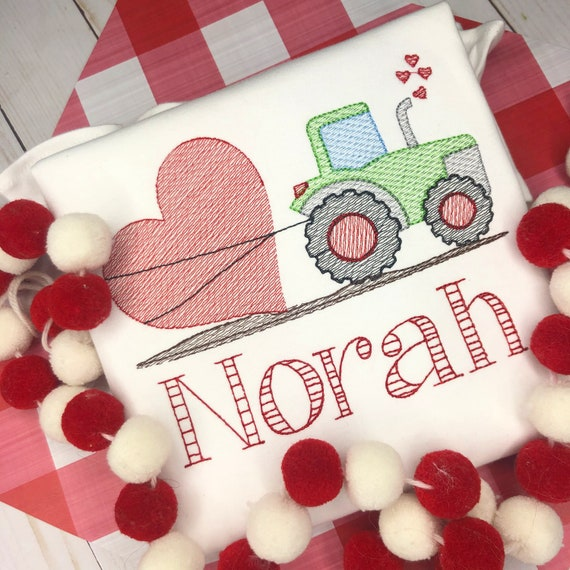 Personalized Valentine's Day tractor shirt, tractor with heart, Valentine Shirt, Vintage, embroidered