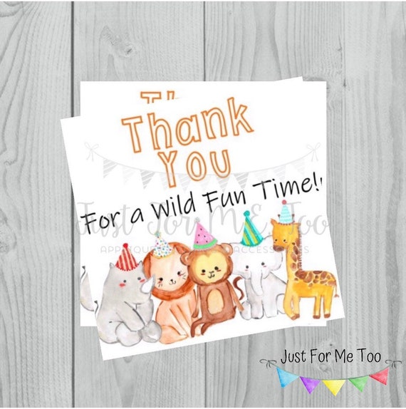 Zoo Printable Tags, Zoo Thank You, Instant Download, Thank You for a Wild Fun Time Tags,  Animal Party Favor Tags, Zoo Birthday