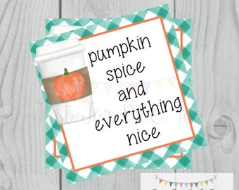 Pumpkin Spice Latte Printable Tags, Instant Download, Fall Tags, Pumpkin Gift Tags, Lunchbox, Pumpkin, Printables, Square Tag, Pumpkin Spice