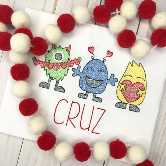 Personalized Valentine Monster Shirt, Monster trio, Valentine's Day, Love Monster, Heart, Embroidered, Free Ship