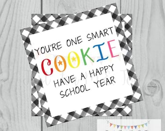 Back to School Printable Tags, Back to School, First Day of School Tags, School Tags, One Smart Cookie, Lunchbox Notes, Cookie