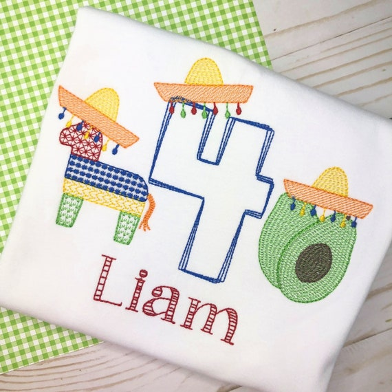 Personalized Fiesta Shirt, Birthday Applique,Fiesta, Taco Tuesday, Cinco de Mayo, Taco Applique, Fiesta Trio Embroidery, Mexican Trio,number