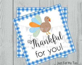 Thanksgiving Printable Tags, Instant Download, Thankful for You, Turkey Gift Tags, Printable, Thanksgiving, Blue Gingham