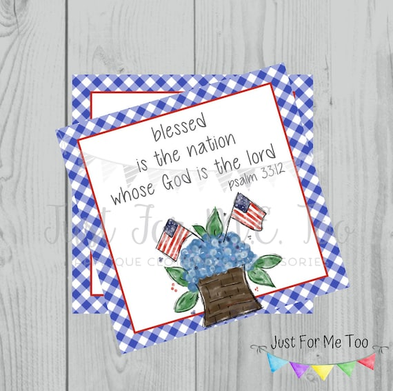 Instant Download Printable 4th of July Tag, Flag Tag, July 4th Printable, Flag Tags, Bible Verse Printable, Psalm 33:12